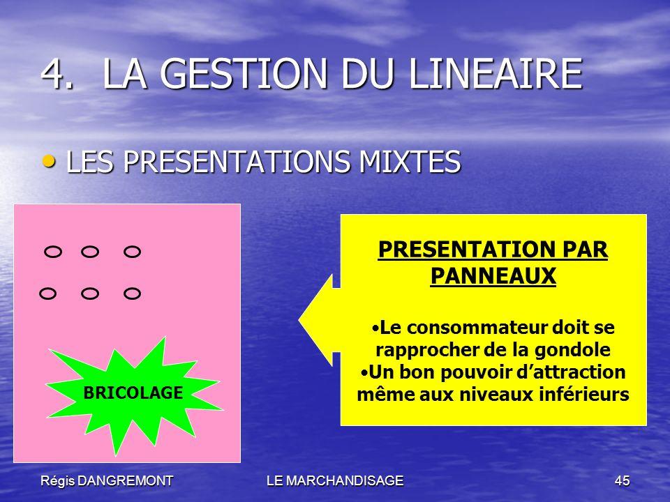 Régis DANGREMONTLE MARCHANDISAGE45 LES PRESENTATIONS MIXTES LES PRESENTATIONS MIXTES 4.LA GESTION DU LINEAIRE PRESENTATION PAR PANNEAUX Le consommateu