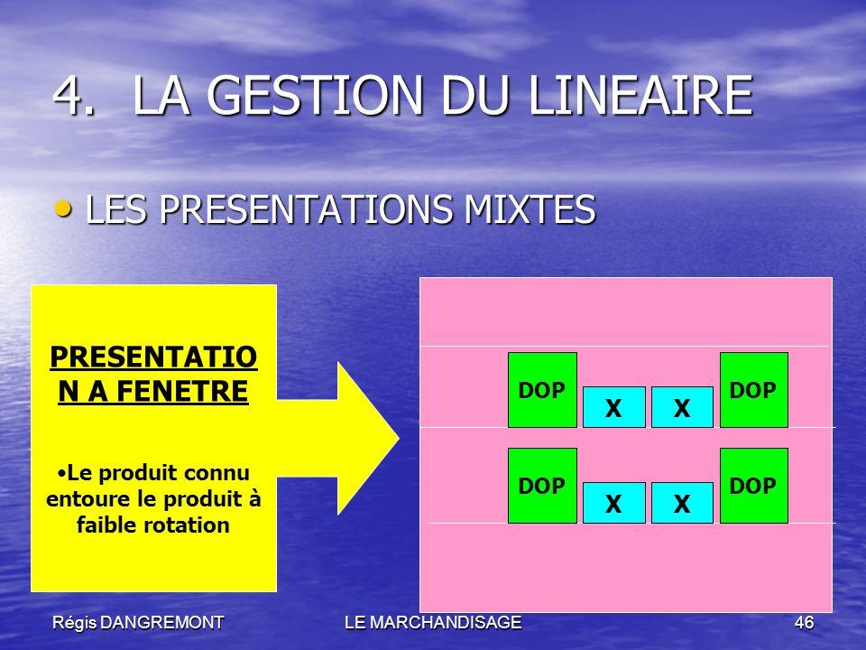Régis DANGREMONTLE MARCHANDISAGE46 LES PRESENTATIONS MIXTES LES PRESENTATIONS MIXTES 4.LA GESTION DU LINEAIRE X X X X DOP PRESENTATIO N A FENETRE Le p