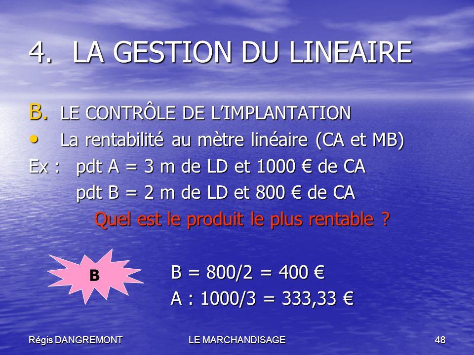 Régis DANGREMONTLE MARCHANDISAGE48 B. LE CONTRÔLE DE LIMPLANTATION La rentabilité au mètre linéaire (CA et MB) La rentabilité au mètre linéaire (CA et