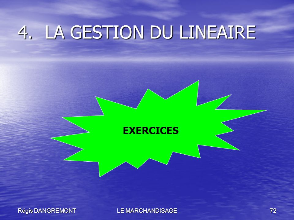 Régis DANGREMONTLE MARCHANDISAGE72 4.LA GESTION DU LINEAIRE EXERCICES
