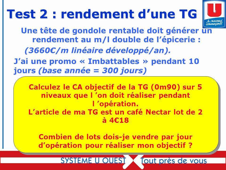 75 Test 2 : rendement dune TG Une tête de gondole rentable doit générer un rendement au m/l double de lépicerie : (3660/m linéaire développé/an). Jai