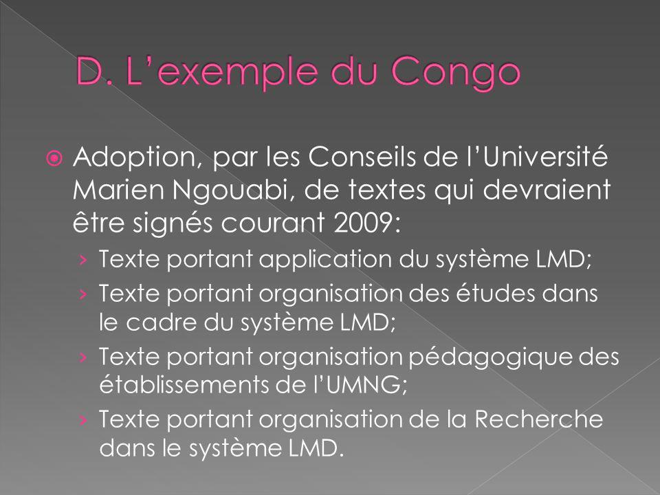 Adoption, par les Conseils de lUniversité Marien Ngouabi, de textes qui devraient être signés courant 2009: Texte portant application du système LMD;