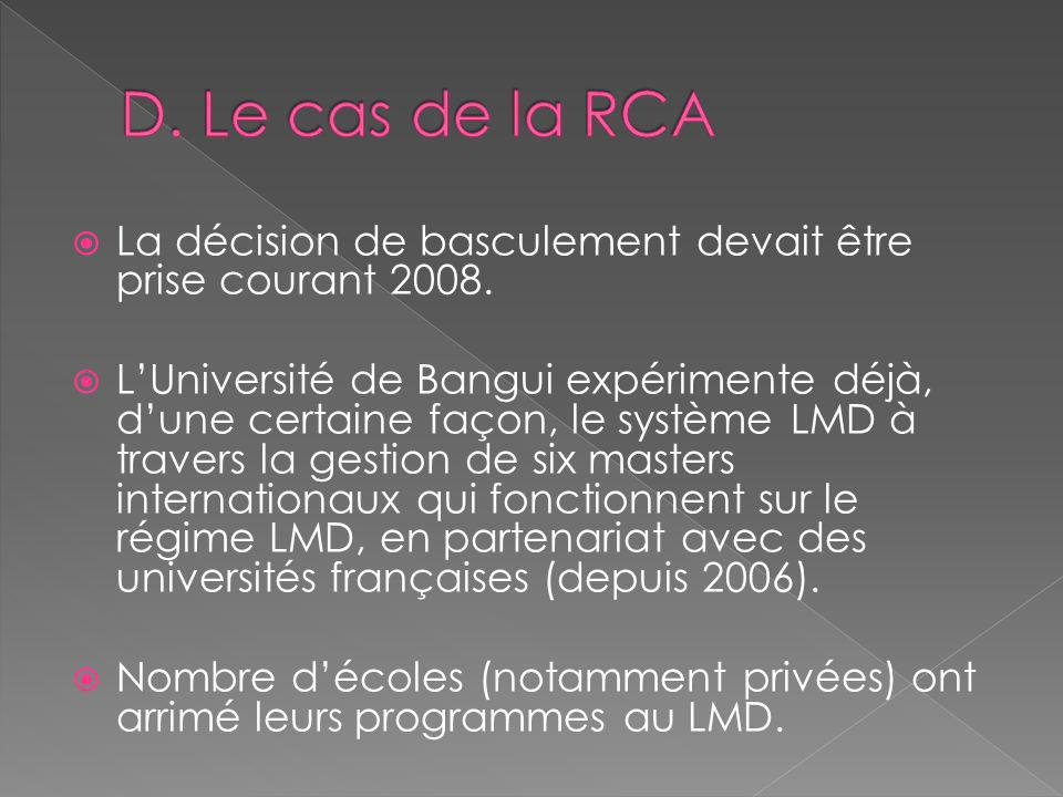 La décision de basculement devait être prise courant 2008. LUniversité de Bangui expérimente déjà, dune certaine façon, le système LMD à travers la ge