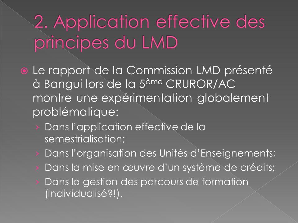 Le rapport de la Commission LMD présenté à Bangui lors de la 5 ème CRUROR/AC montre une expérimentation globalement problématique: Dans lapplication e