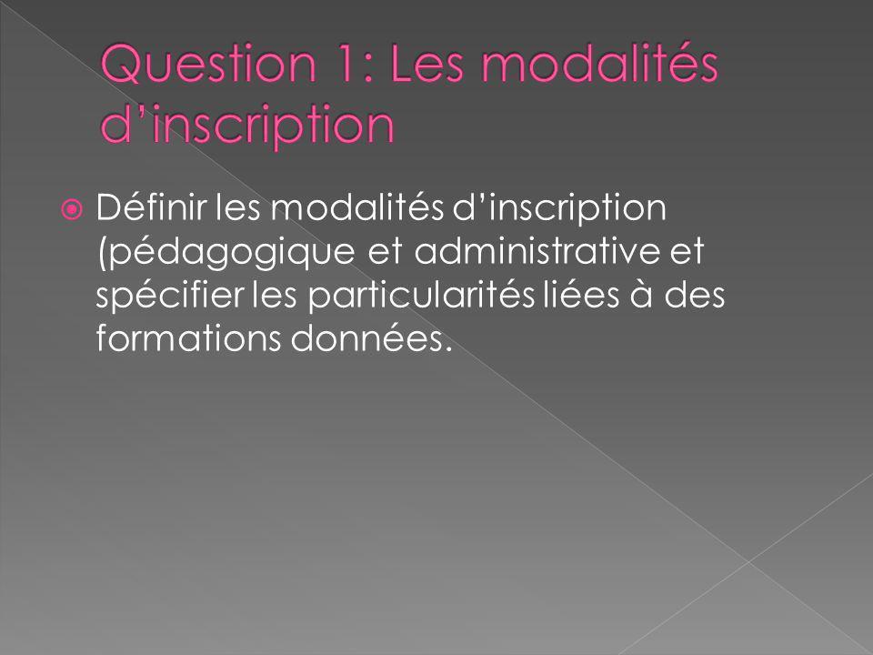 Définir les modalités dinscription (pédagogique et administrative et spécifier les particularités liées à des formations données.