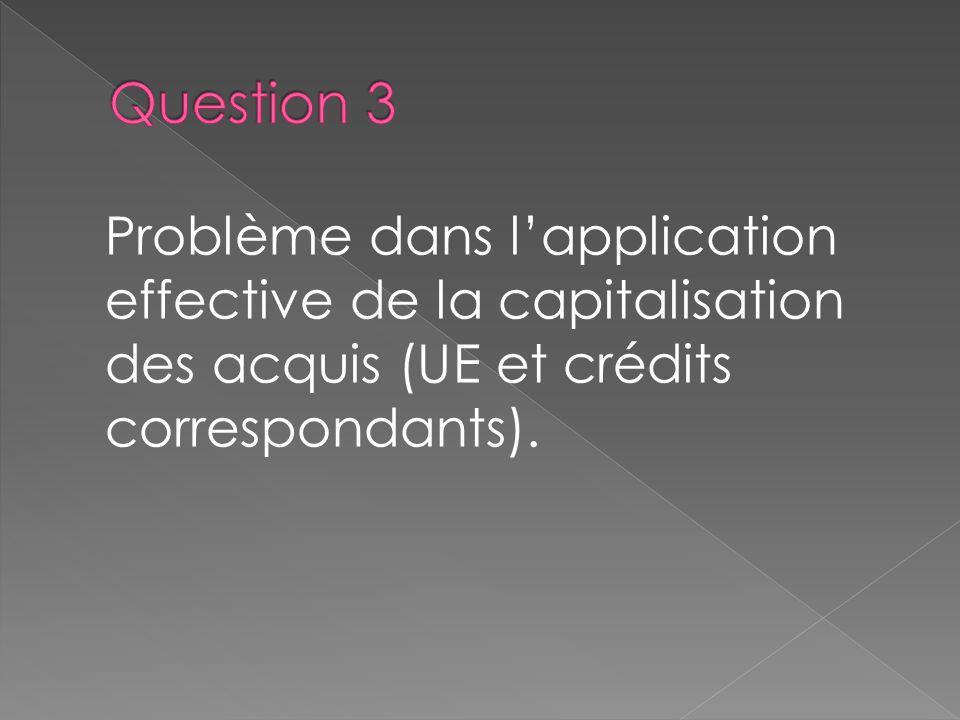 Problème dans lapplication effective de la capitalisation des acquis (UE et crédits correspondants).