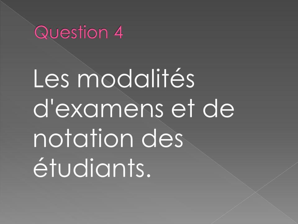Les modalités d'examens et de notation des étudiants.
