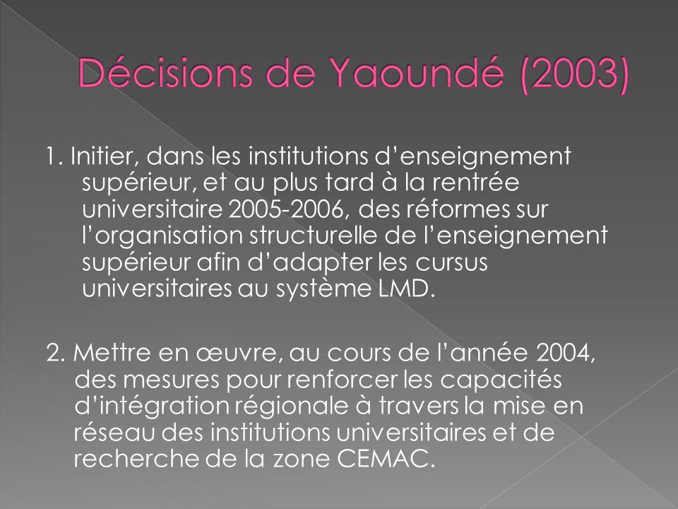 1. Initier, dans les institutions denseignement supérieur, et au plus tard à la rentrée universitaire 2005-2006, des réformes sur lorganisation struct