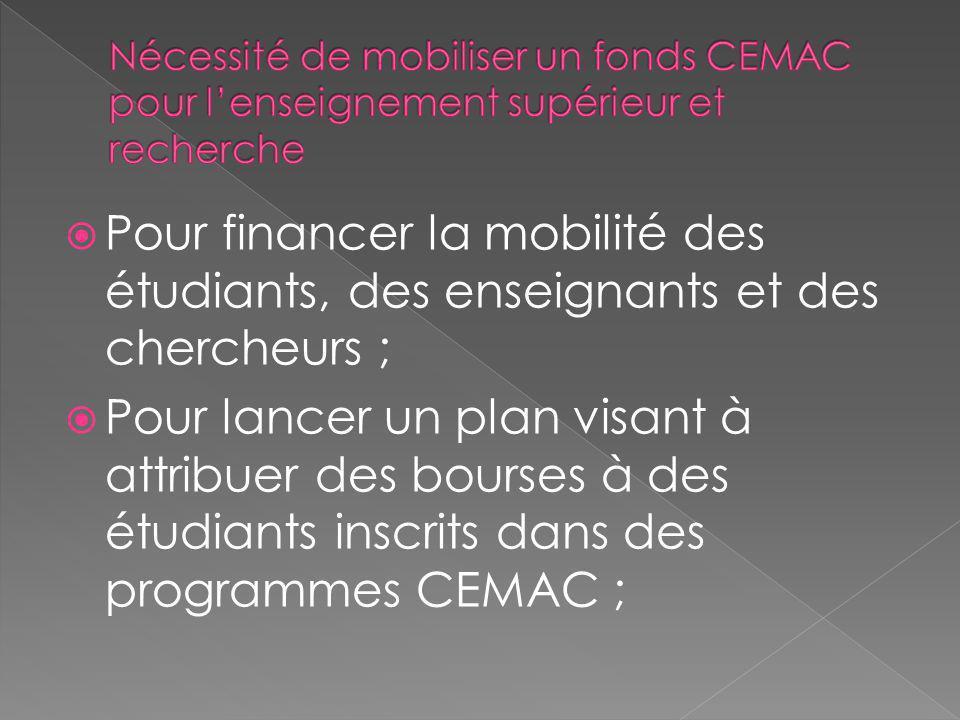 Pour financer la mobilité des étudiants, des enseignants et des chercheurs ; Pour lancer un plan visant à attribuer des bourses à des étudiants inscri
