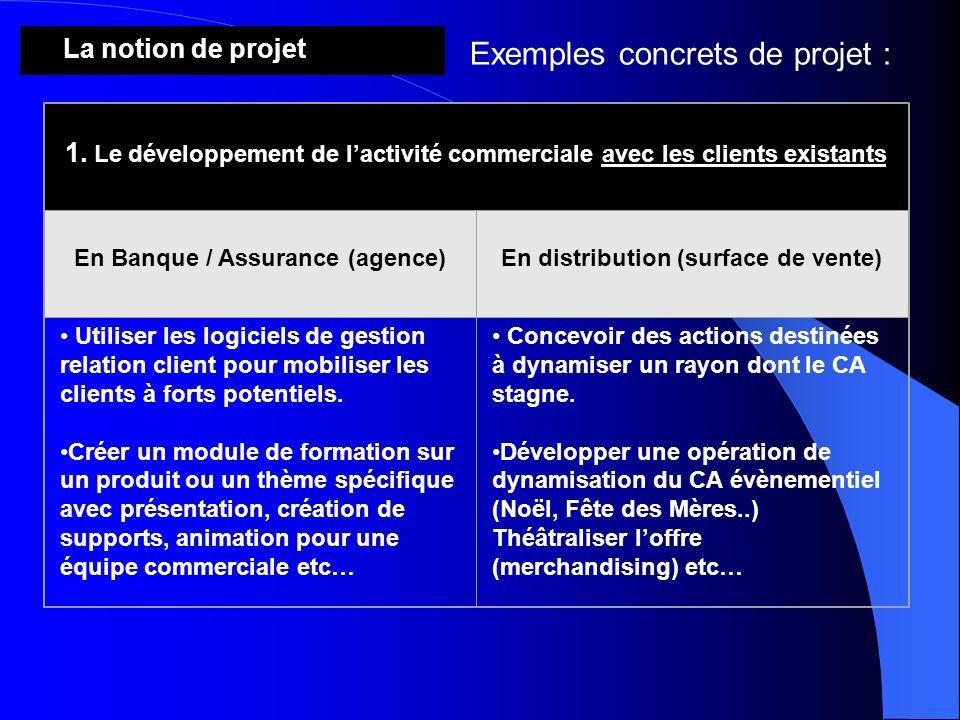 La notion de projet Exemples concrets de projet : 1. Le développement de lactivité commerciale avec les clients existants En Banque / Assurance (agenc