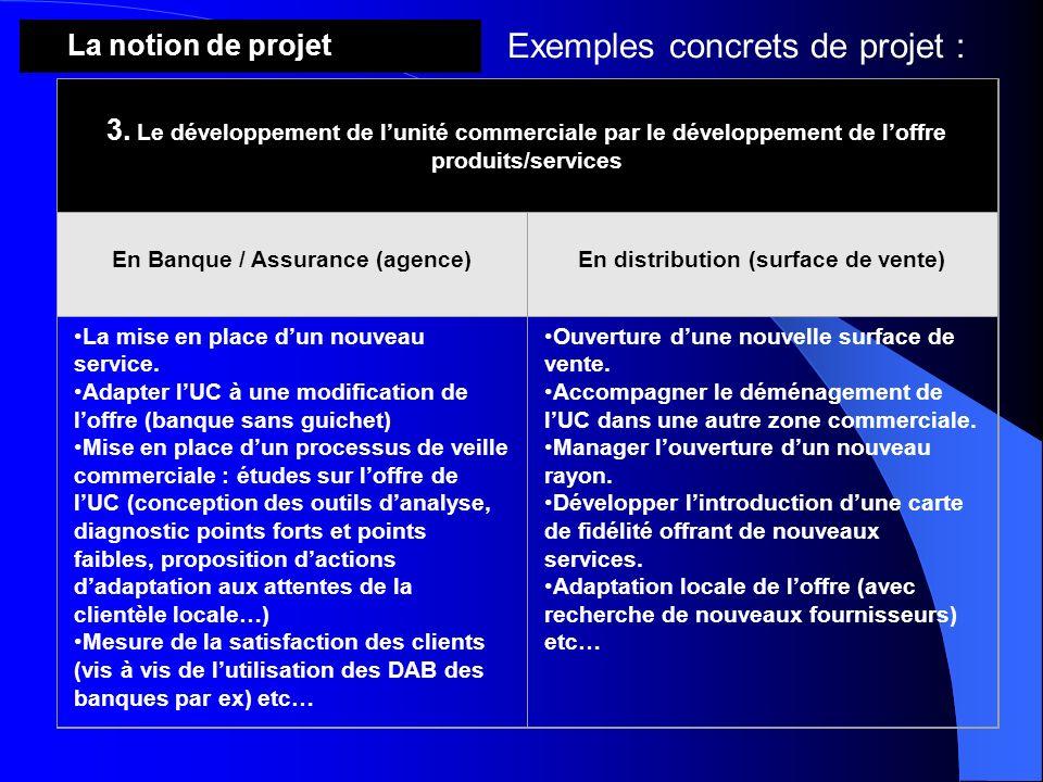 3. Le développement de lunité commerciale par le développement de loffre produits/services En Banque / Assurance (agence)En distribution (surface de v