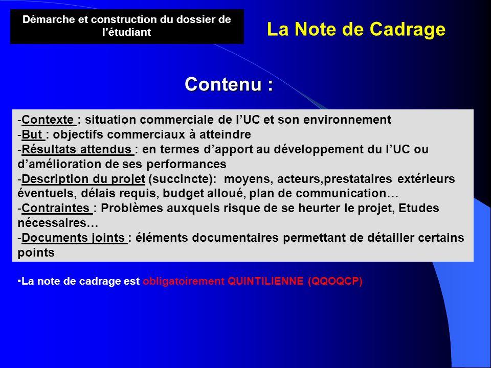 Démarche et construction du dossier de létudiant La Note de Cadrage Contenu : -Contexte : situation commerciale de lUC et son environnement -But : obj