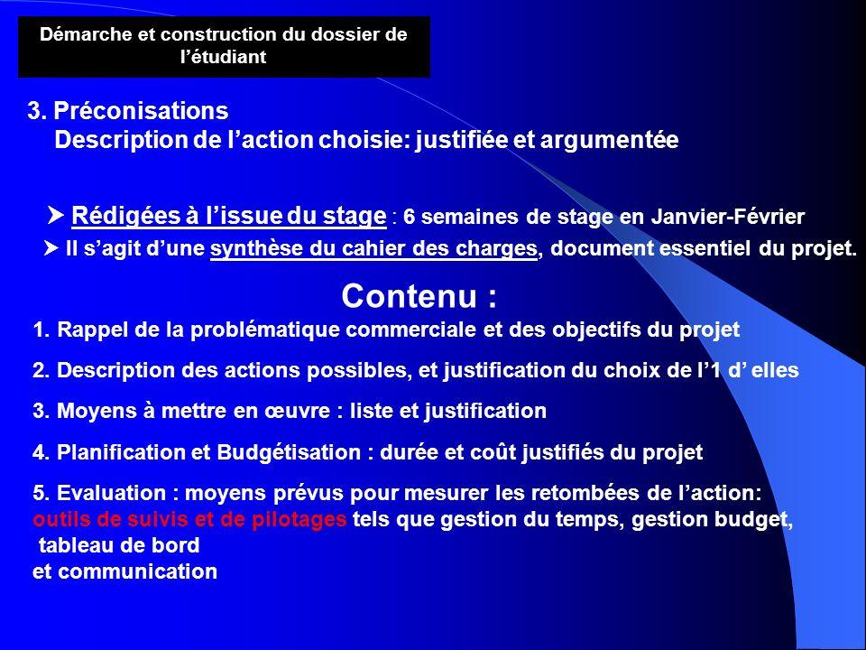 Démarche et construction du dossier de létudiant 3. Préconisations Description de laction choisie: justifiée et argumentée Rédigées à lissue du stage