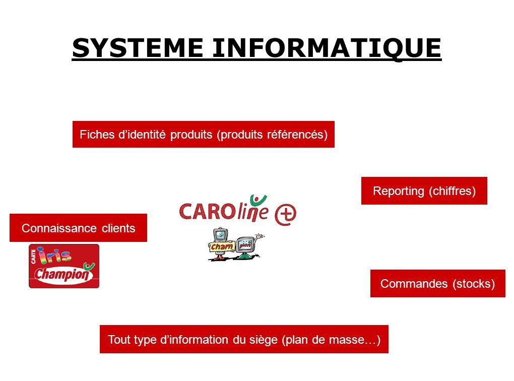 SYSTEME INFORMATIQUE Fiches didentité produits (produits référencés) Tout type dinformation du siège (plan de masse…) Commandes (stocks) Reporting (ch