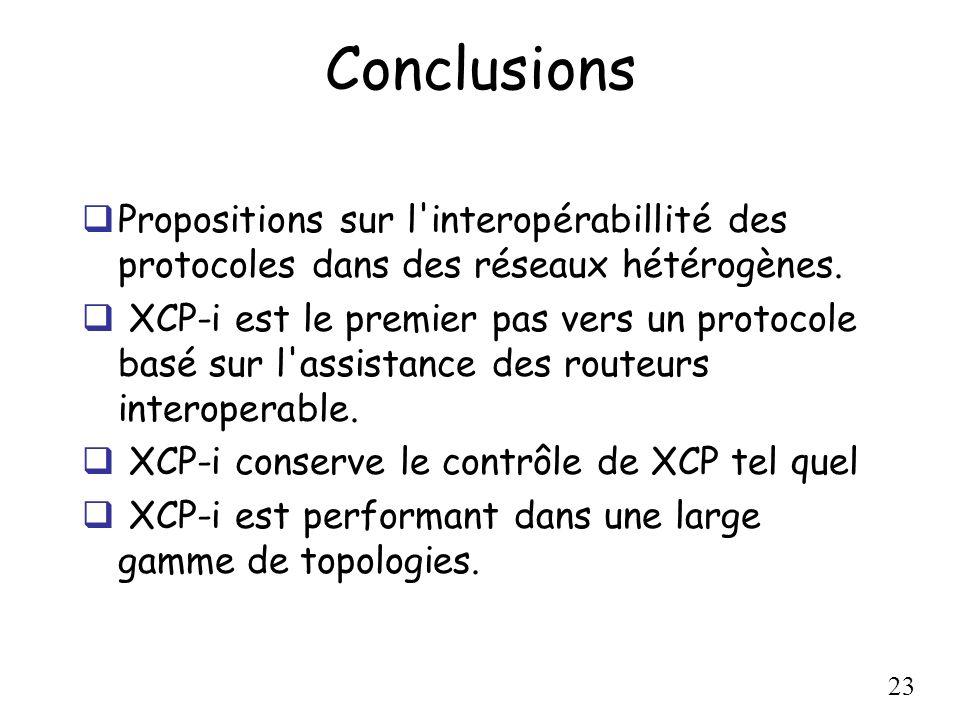 23 Conclusions Propositions sur l'interopérabillité des protocoles dans des réseaux hétérogènes. XCP-i est le premier pas vers un protocole basé sur l