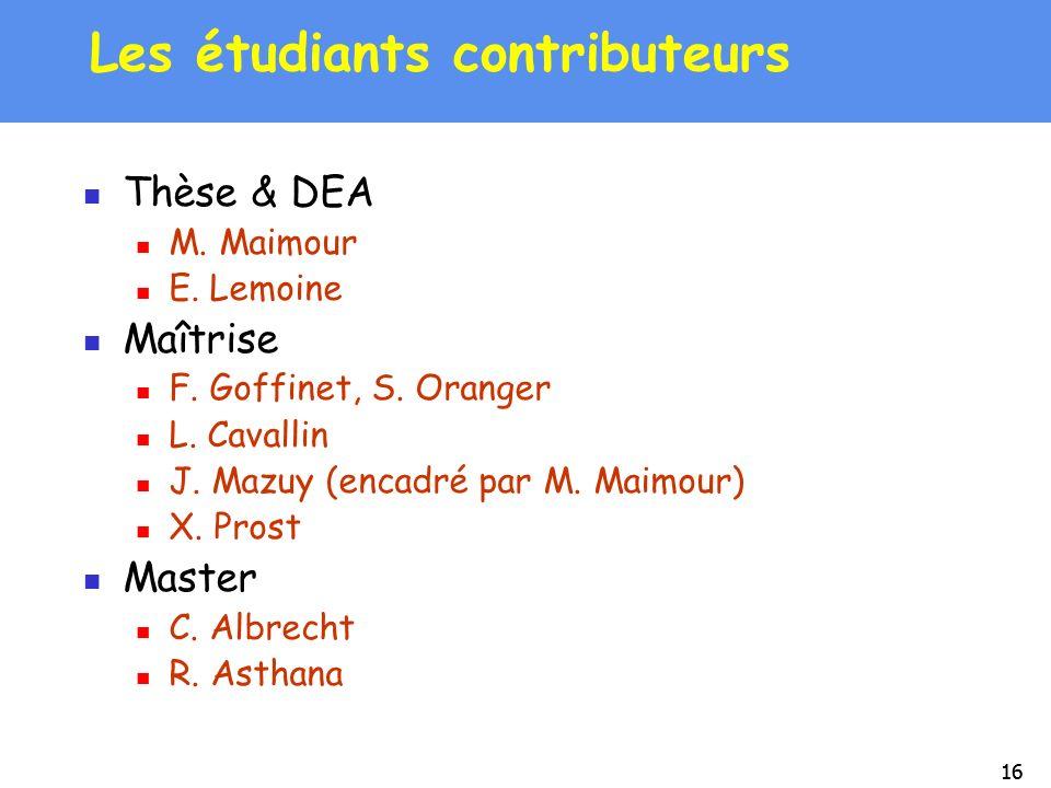 16 Les étudiants contributeurs Thèse & DEA M. Maimour E. Lemoine Maîtrise F. Goffinet, S. Oranger L. Cavallin J. Mazuy (encadré par M. Maimour) X. Pro