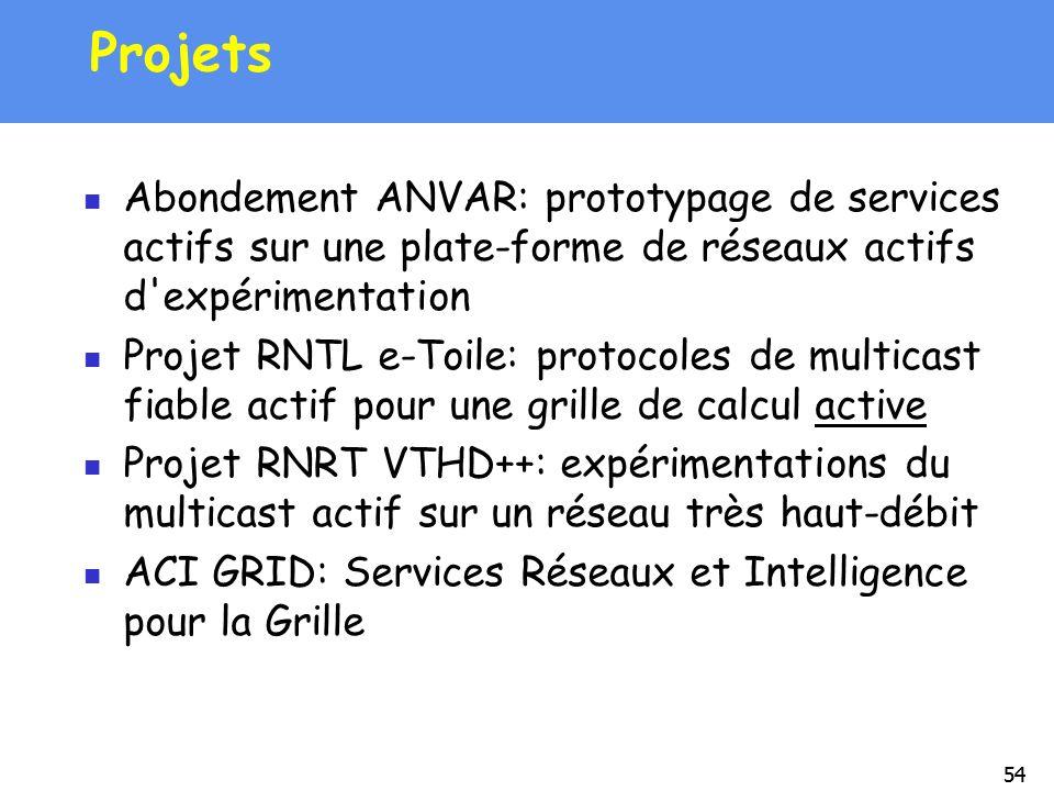 54 Projets Abondement ANVAR: prototypage de services actifs sur une plate-forme de réseaux actifs d'expérimentation Projet RNTL e-Toile: protocoles de