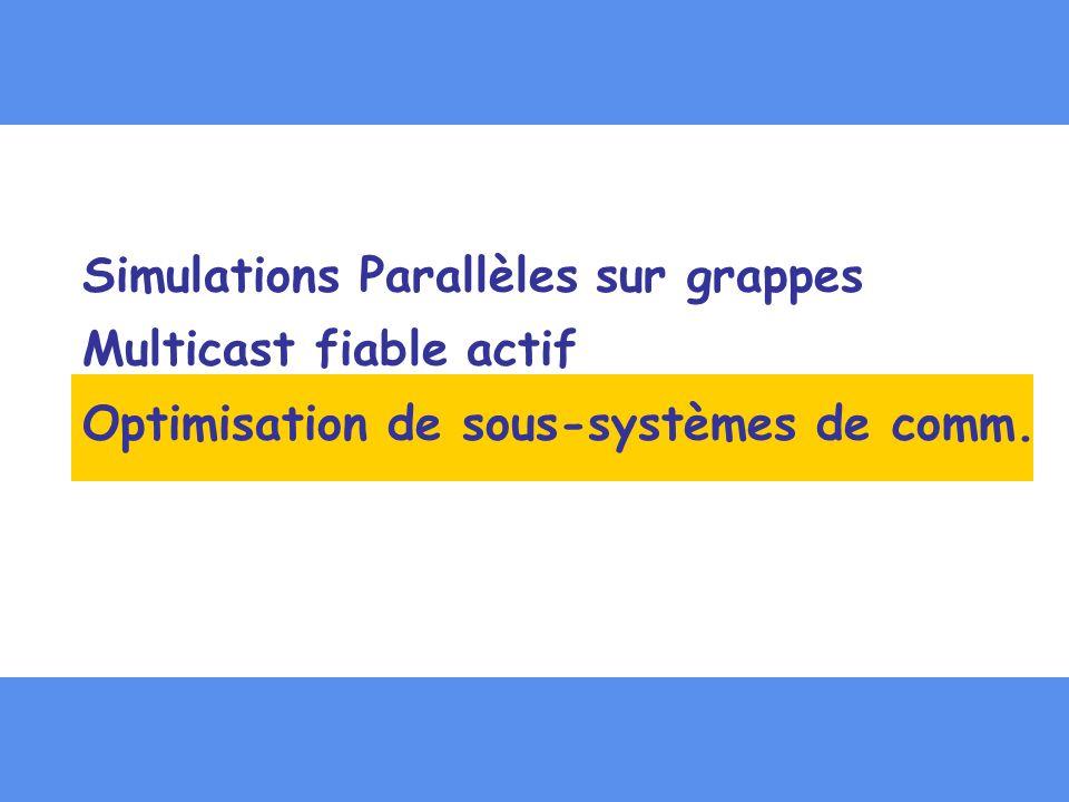 Simulations Parallèles sur grappes Multicast fiable actif Optimisation de sous-systèmes de comm.