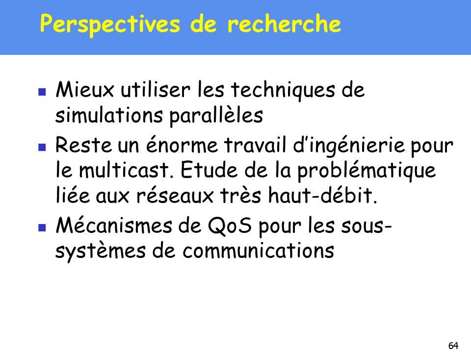 64 Perspectives de recherche Mieux utiliser les techniques de simulations parallèles Reste un énorme travail dingénierie pour le multicast. Etude de l