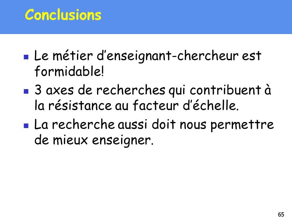65 Conclusions Le métier denseignant-chercheur est formidable! 3 axes de recherches qui contribuent à la résistance au facteur déchelle. La recherche