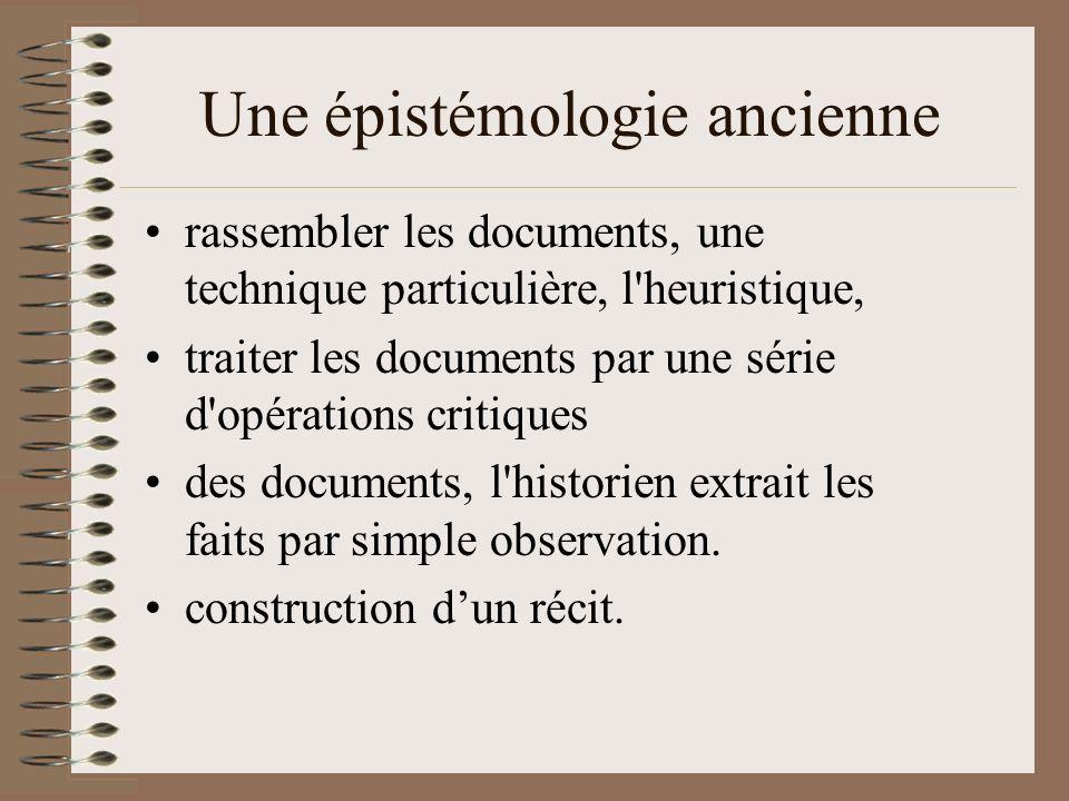 Une épistémologie ancienne rassembler les documents, une technique particulière, l heuristique, traiter les documents par une série d opérations critiques des documents, l historien extrait les faits par simple observation.
