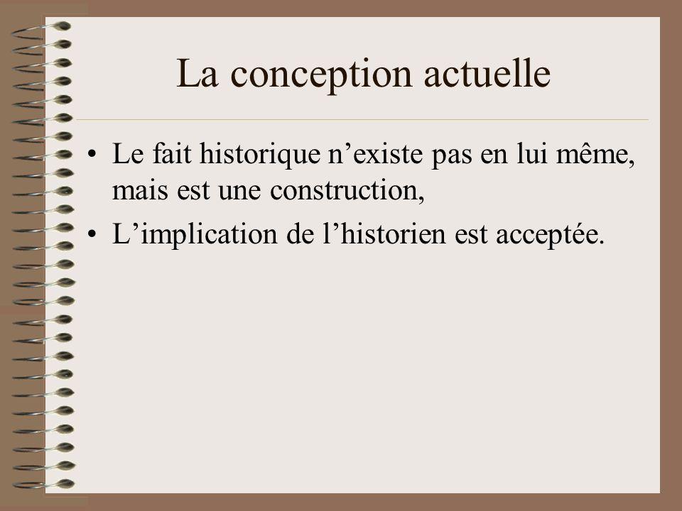 Le fait historique nexiste pas en lui même, mais est une construction, Limplication de lhistorien est acceptée.
