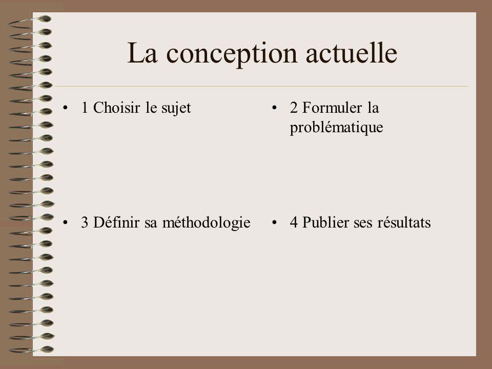 La conception actuelle 1 Choisir le sujet2 Formuler la problématique 3 Définir sa méthodologie4 Publier ses résultats