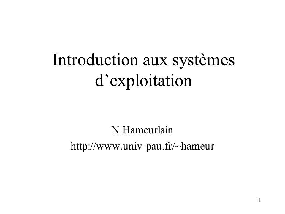 1 Introduction aux systèmes dexploitation N.Hameurlain http://www.univ-pau.fr/~hameur