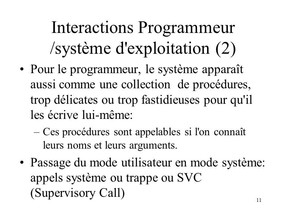 11 Interactions Programmeur /système d'exploitation (2) Pour le programmeur, le système apparaît aussi comme une collection de procédures, trop délica