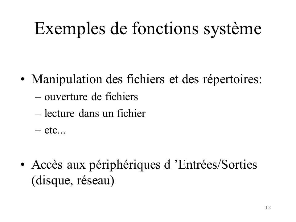 12 Exemples de fonctions système Manipulation des fichiers et des répertoires: –ouverture de fichiers –lecture dans un fichier –etc... Accès aux périp