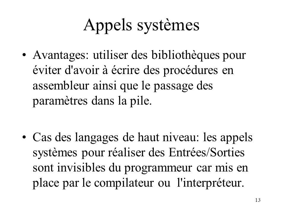 13 Appels systèmes Avantages: utiliser des bibliothèques pour éviter d'avoir à écrire des procédures en assembleur ainsi que le passage des paramètres