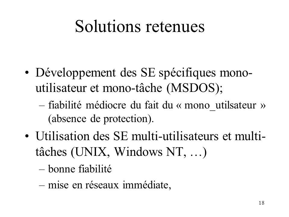18 Solutions retenues Développement des SE spécifiques mono- utilisateur et mono-tâche (MSDOS); –fiabilité médiocre du fait du « mono_utilsateur » (ab