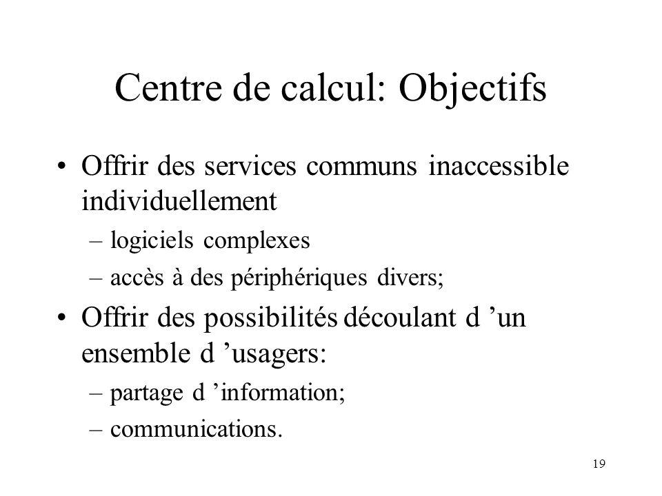 19 Centre de calcul: Objectifs Offrir des services communs inaccessible individuellement –logiciels complexes –accès à des périphériques divers; Offri