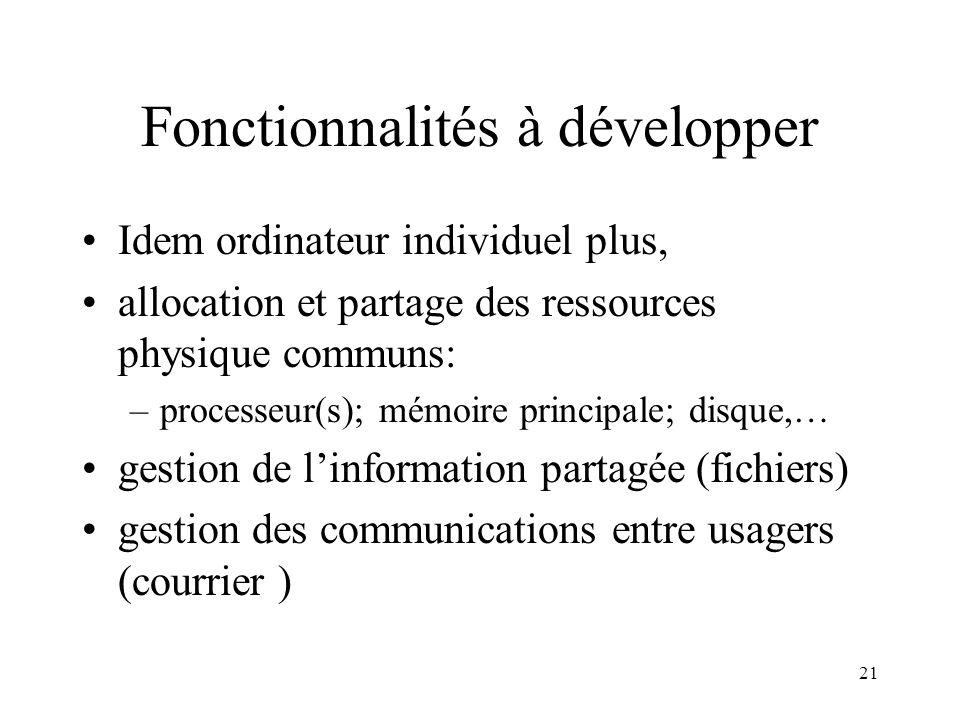 21 Fonctionnalités à développer Idem ordinateur individuel plus, allocation et partage des ressources physique communs: –processeur(s); mémoire princi