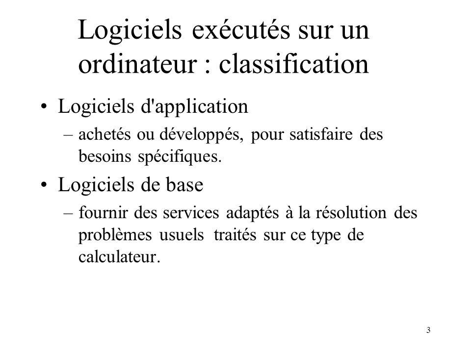 3 Logiciels exécutés sur un ordinateur : classification Logiciels d'application –achetés ou développés, pour satisfaire des besoins spécifiques. Logic
