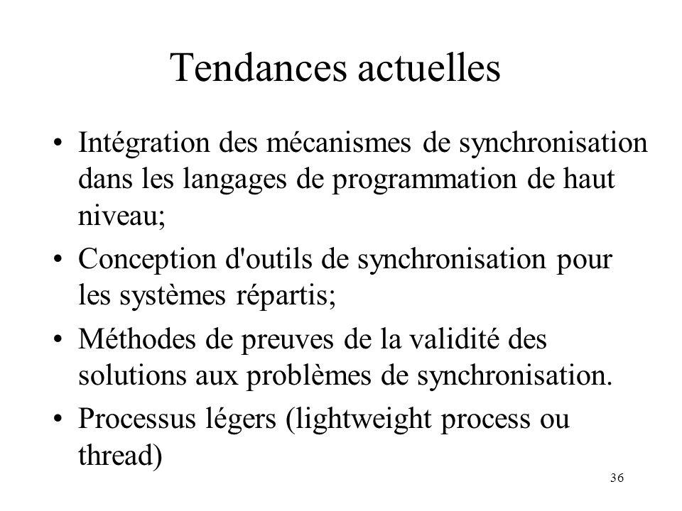 36 Tendances actuelles Intégration des mécanismes de synchronisation dans les langages de programmation de haut niveau; Conception d'outils de synchro