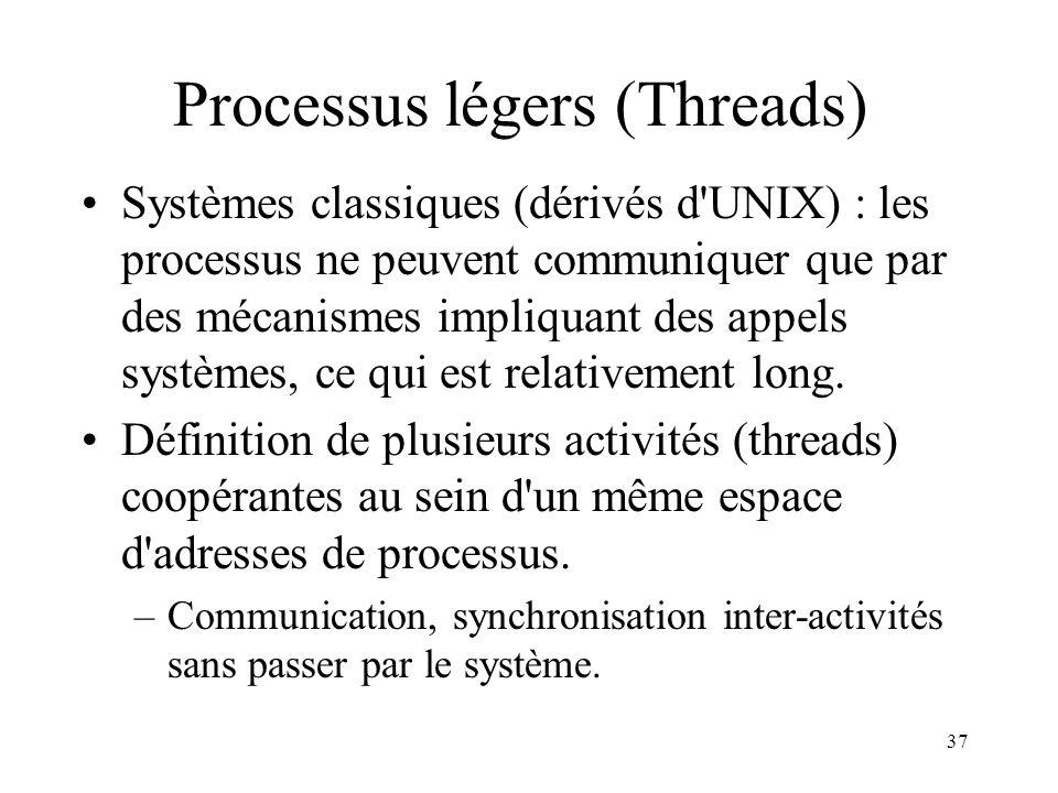 37 Processus légers (Threads) Systèmes classiques (dérivés d'UNIX) : les processus ne peuvent communiquer que par des mécanismes impliquant des appels
