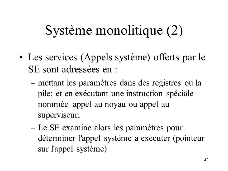 42 Système monolitique (2) Les services (Appels système) offerts par le SE sont adressées en : –mettant les paramètres dans des registres ou la pile;