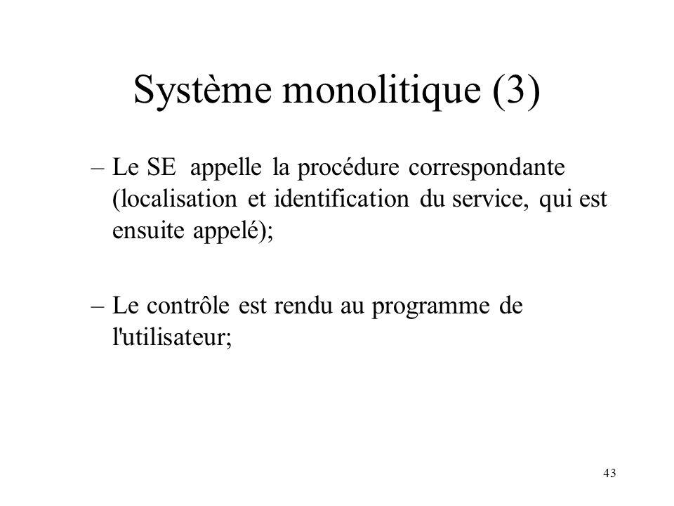 43 Système monolitique (3) –Le SE appelle la procédure correspondante (localisation et identification du service, qui est ensuite appelé); –Le contrôl