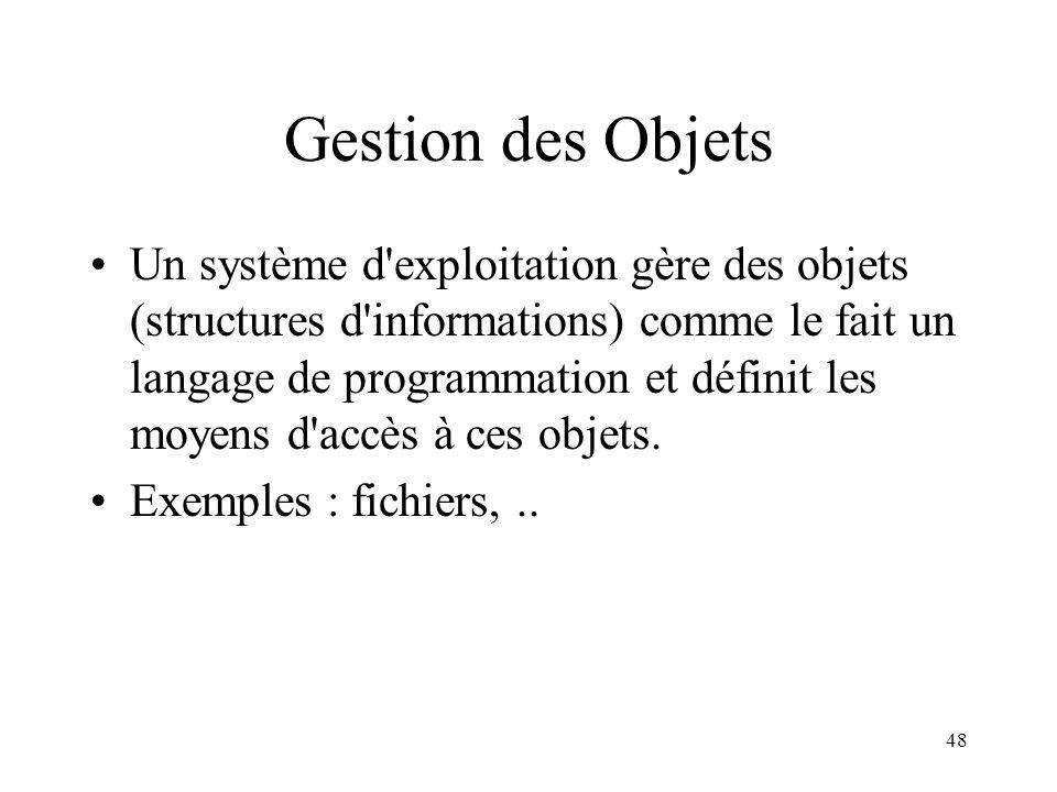48 Gestion des Objets Un système d'exploitation gère des objets (structures d'informations) comme le fait un langage de programmation et définit les m