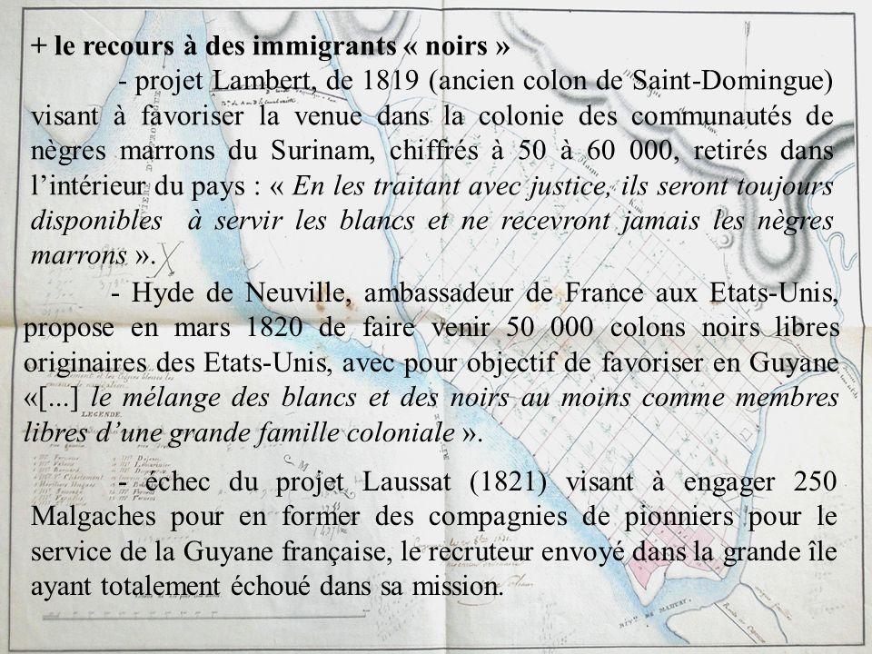 + le recours à des immigrants « noirs » - projet Lambert, de 1819 (ancien colon de Saint-Domingue) visant à favoriser la venue dans la colonie des com
