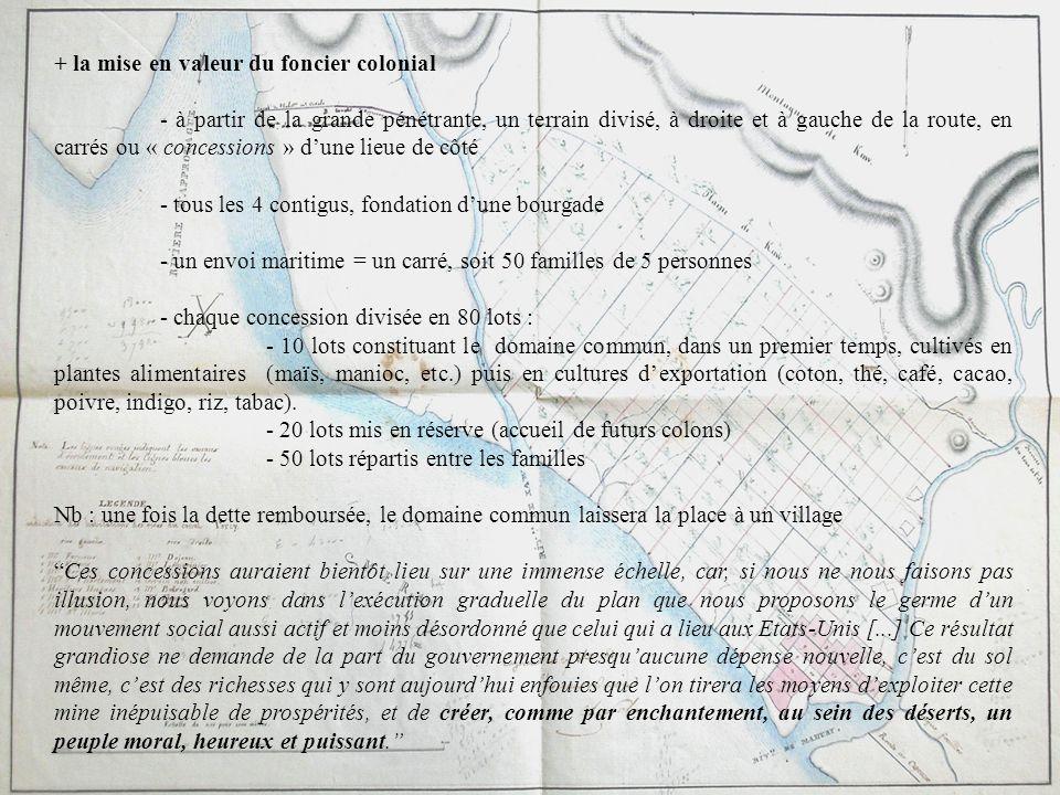 + la mise en valeur du foncier colonial - à partir de la grande pénétrante, un terrain divisé, à droite et à gauche de la route, en carrés ou « conces