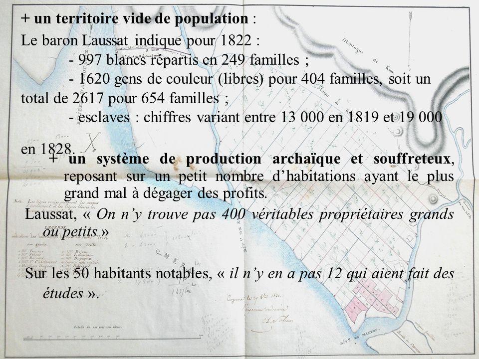 + un territoire vide de population : Le baron Laussat indique pour 1822 : - 997 blancs répartis en 249 familles ; - 1620 gens de couleur (libres) pour