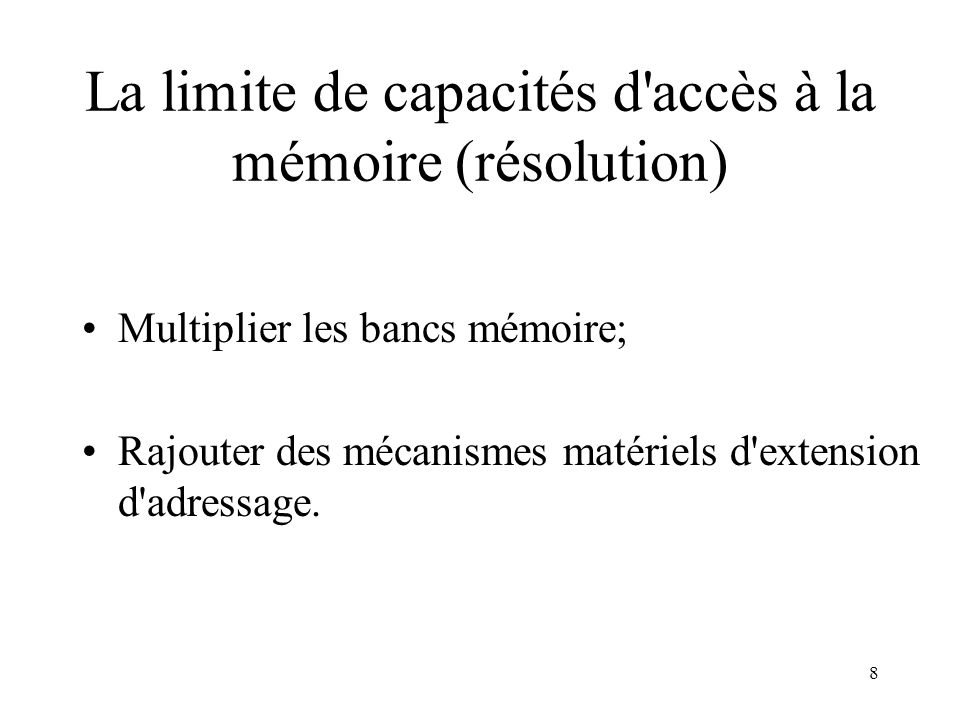 29 Cache mémoire des Architectures Multiprocesseurs: principe Si le mot mémoire demandé existe dans le cache, le cache répond à l UC; et aucune demande de bus n est faite; Si le mot mémoire demandé nexiste pas, le bus fait une demande à la mémoire; On atteint des taux de succès de plus de 90%, si le cache est assez grand (64 KO à 1 Mo),