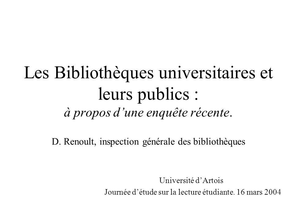 Les Bibliothèques universitaires et leurs publics : à propos dune enquête récente. D. Renoult, inspection générale des bibliothèques Université dArtoi