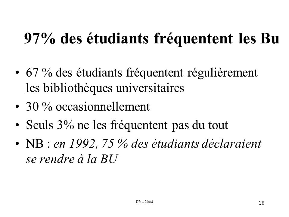 DR - 2004 18 97% des étudiants fréquentent les Bu 67 % des étudiants fréquentent régulièrement les bibliothèques universitaires 30 % occasionnellement Seuls 3% ne les fréquentent pas du tout NB : en 1992, 75 % des étudiants déclaraient se rendre à la BU