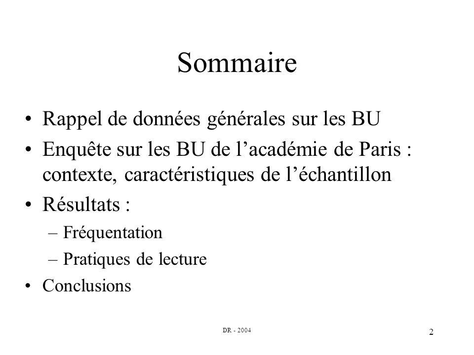 DR - 2004 2 Sommaire Rappel de données générales sur les BU Enquête sur les BU de lacadémie de Paris : contexte, caractéristiques de léchantillon Résultats : –Fréquentation –Pratiques de lecture Conclusions