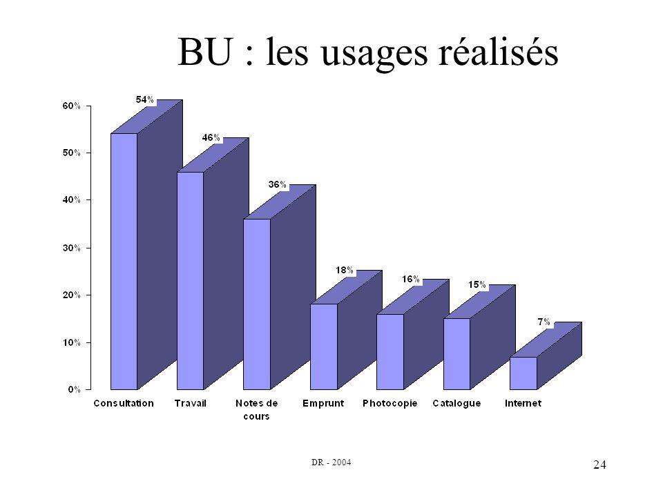 DR - 2004 24 BU : les usages réalisés