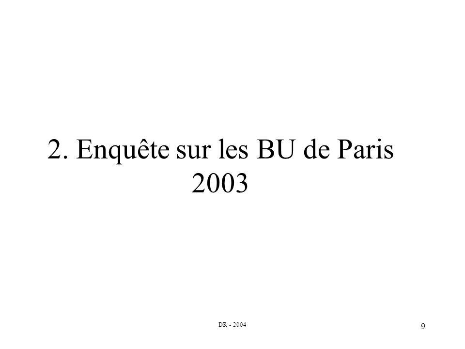 DR - 2004 9 2. Enquête sur les BU de Paris 2003