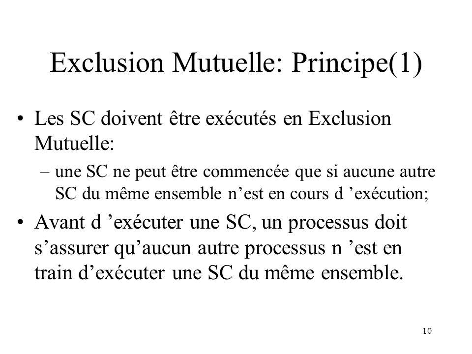 10 Exclusion Mutuelle: Principe(1) Les SC doivent être exécutés en Exclusion Mutuelle: –une SC ne peut être commencée que si aucune autre SC du même e